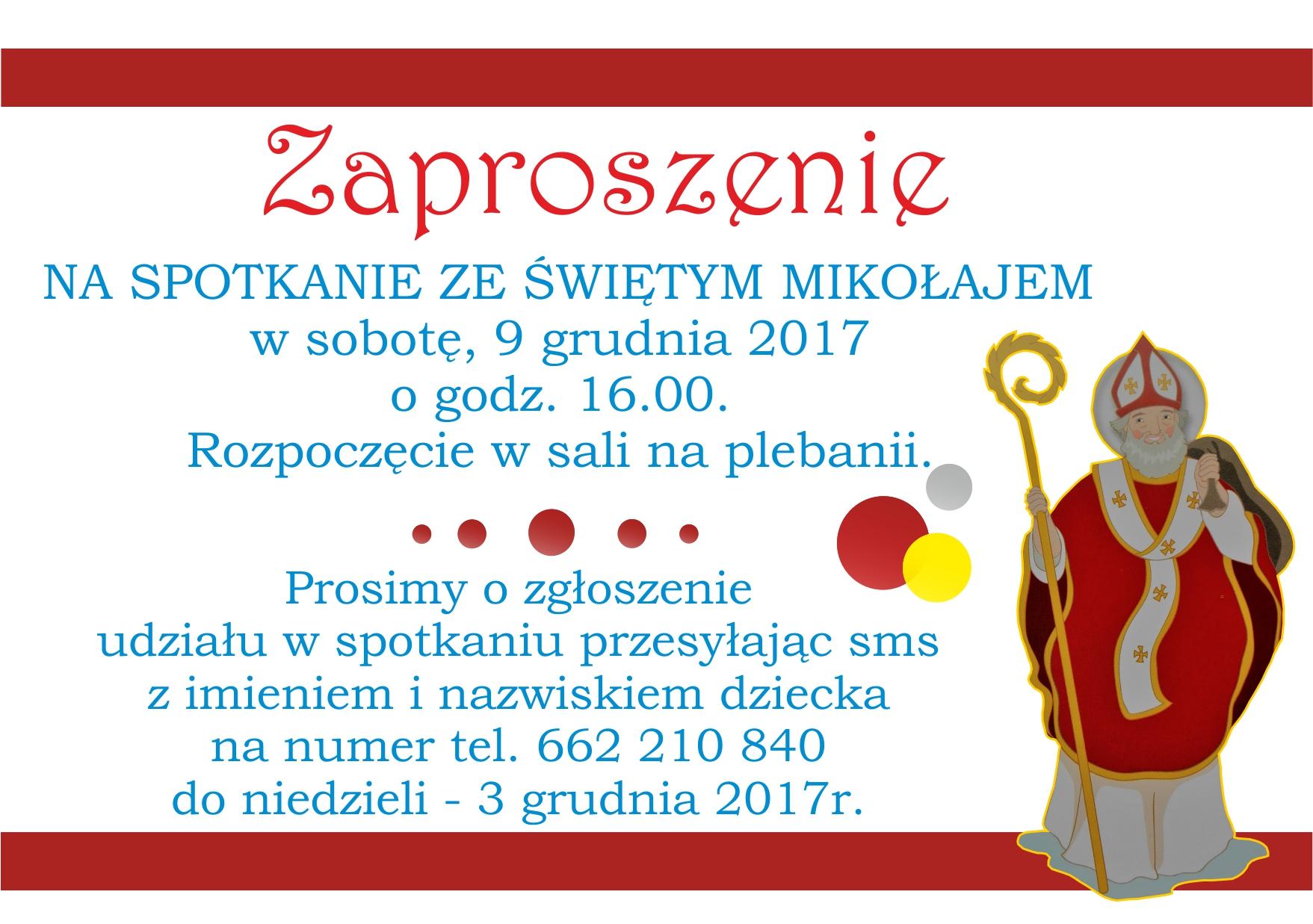zaproszenie na MIKOLAJA 9 GRUDNIA 2017 NA WWW